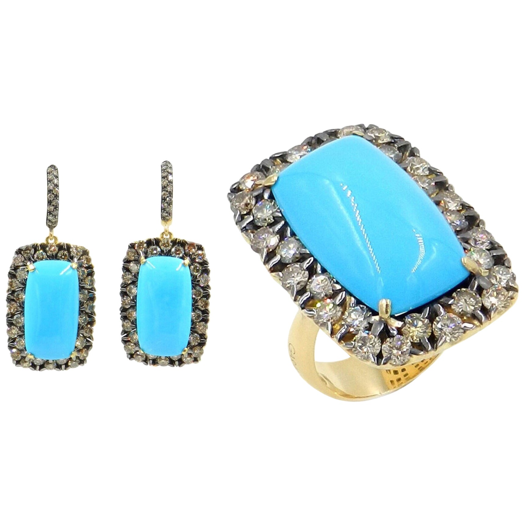 18 Karat Gold Brown Diamonds and Turquoise Garavelli Earrings and Ring Set