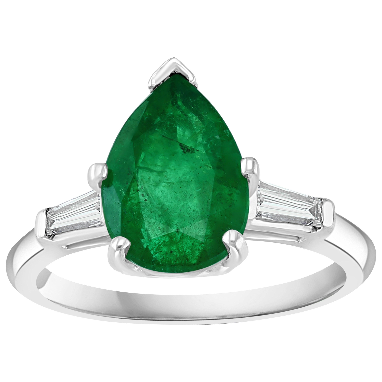 3.5 Carat Pear Cut Emerald and Diamond Ring 14 Karat White Gold