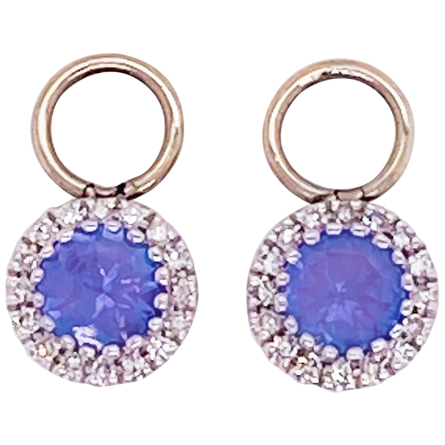 Tanzanite & Diamond Halo Earring Charms 14k White Gold .50 Carat Hoop Charm Set