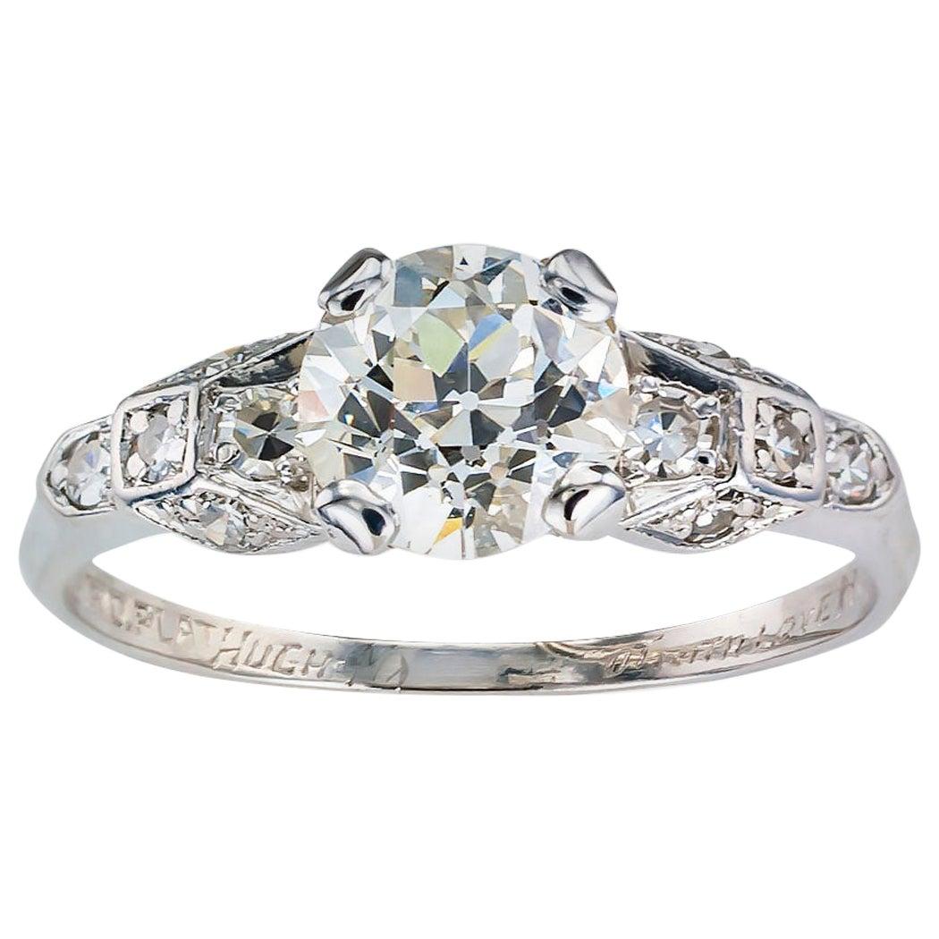 GIA Report Certified 1.03 Carat Diamond Platinum Engagement Ring