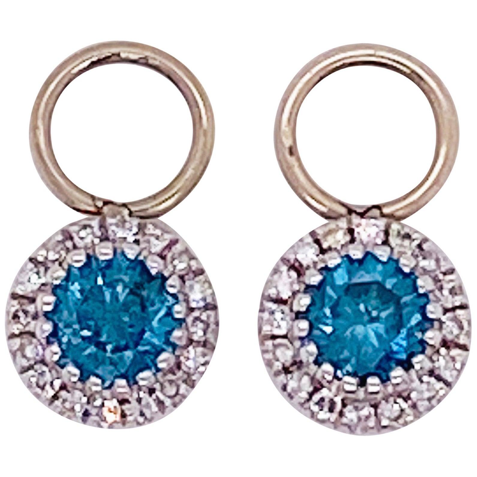 Topaz Diamond Earring Charms, Blue Topaz, 14 Karat Gold, Hoop Charm, .79 Carat