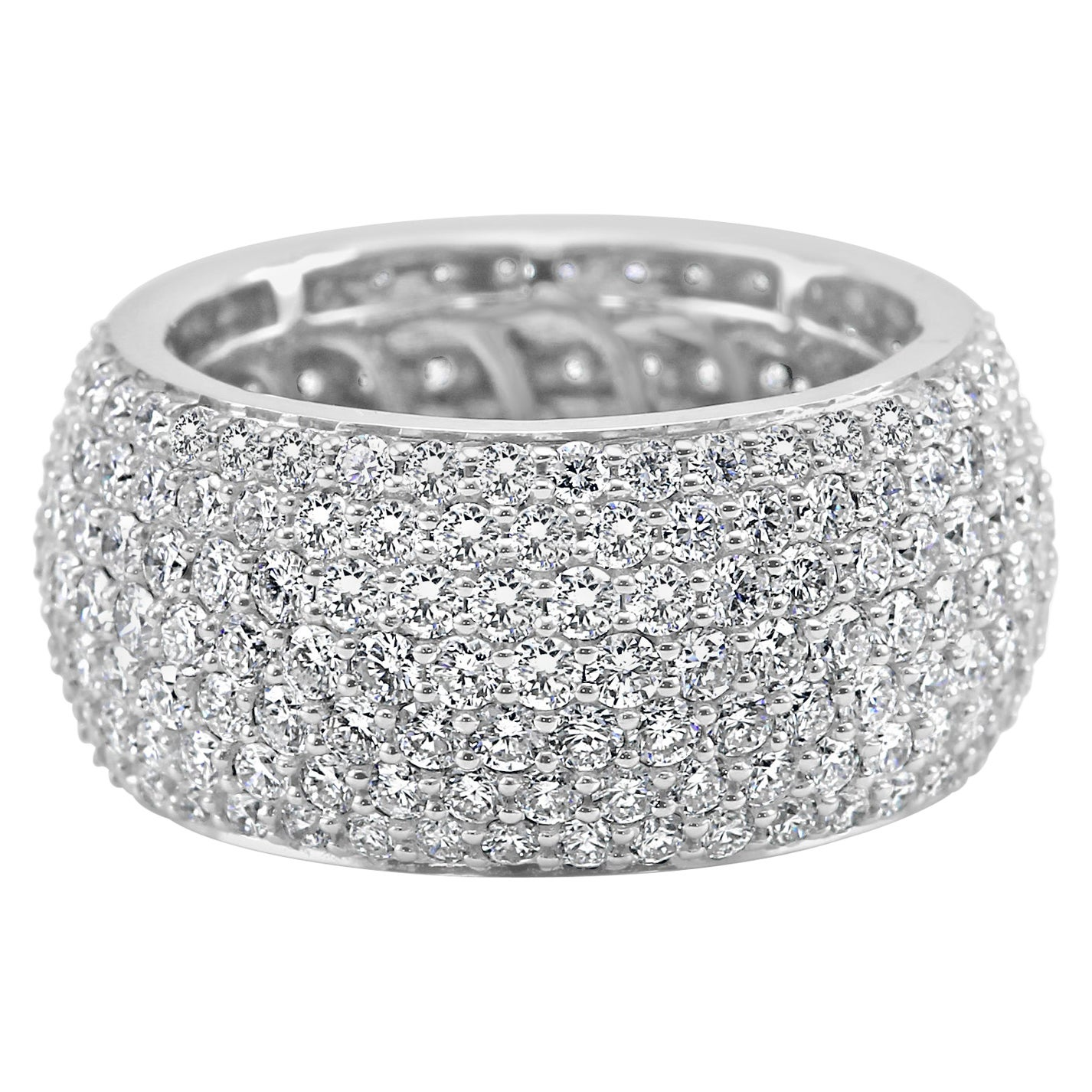 7-Row White Round Diamond 18K Gold Fashion Cocktail Dome Eternity Band Ring