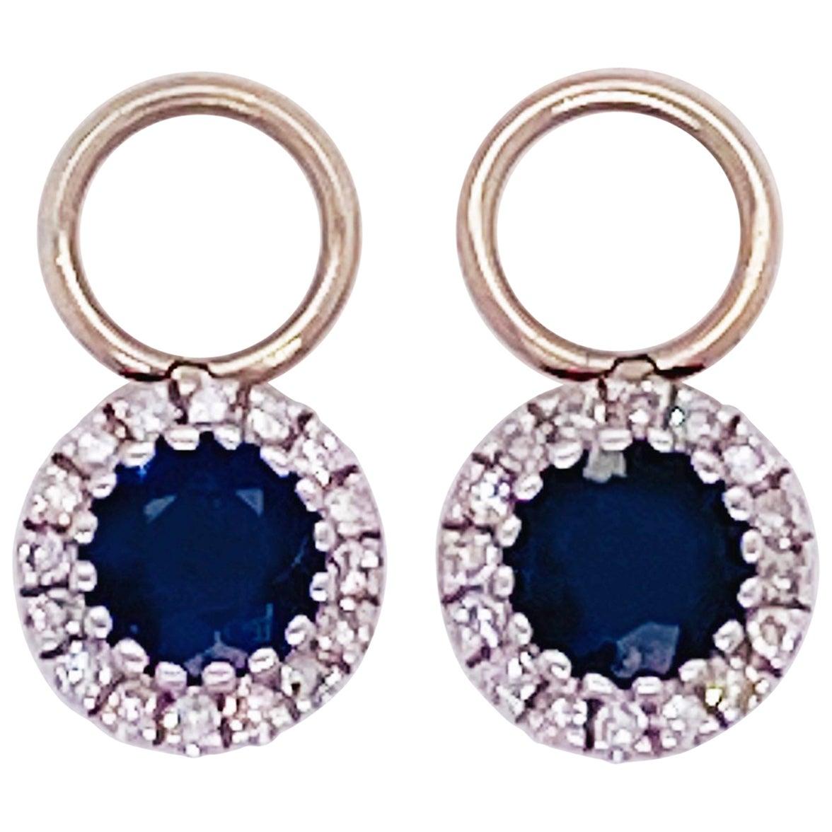 Sapphire Diamond Earring Charms 14 Karat Gold 3/4 Carat Blue Sapphire & Diamond