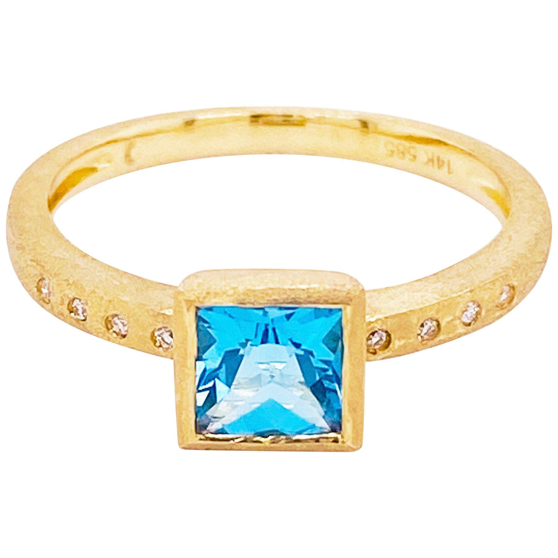 Topaz Diamond Ring, Blue Topaz, 14 Karat Yellow Gold, Satin Finish, Stack