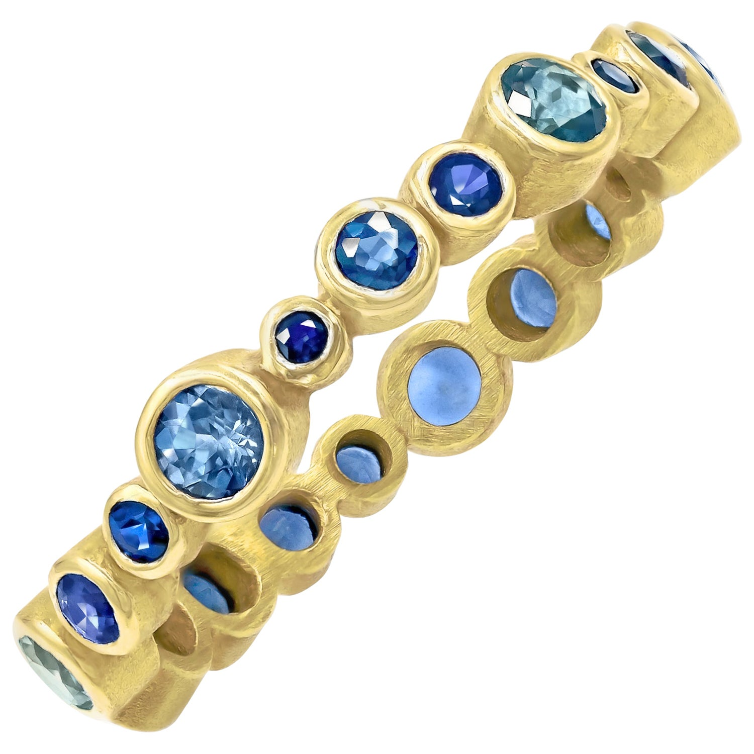 Barbara Heinrich Blue Sapphire Yellow Gold Eternity Bubble Band Ring