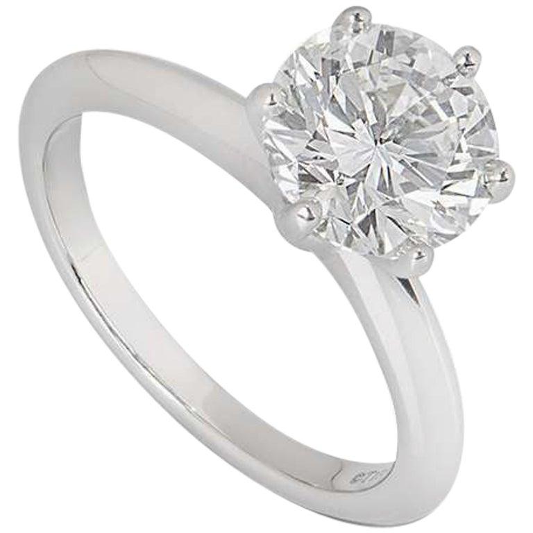 Tiffany & Co. Platinum Diamond Setting Ring 2.12 Carat G/VS1 GIA Certified