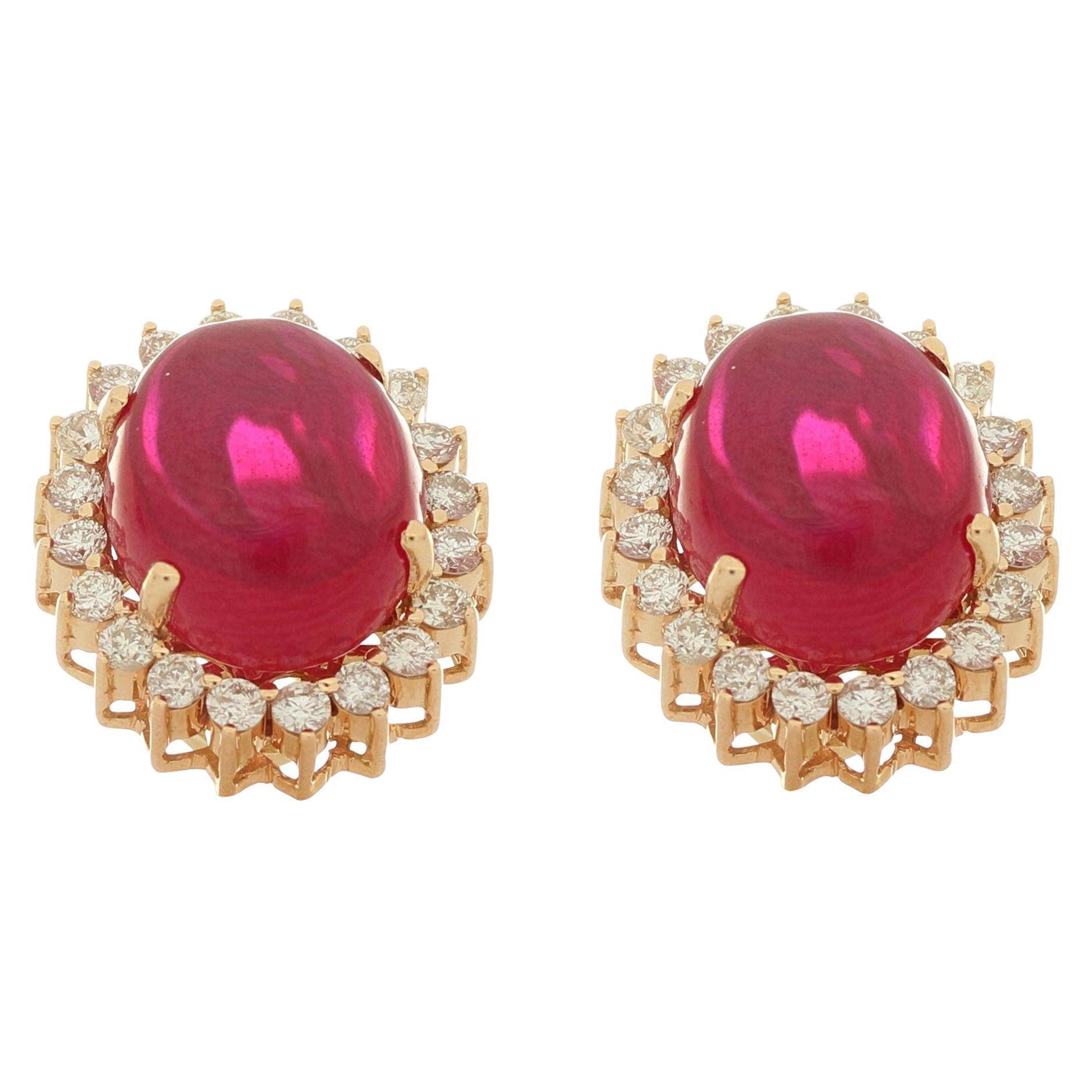Amwaj Oval Synthetic Ruby Earrings - 18 Karat Rose Gold