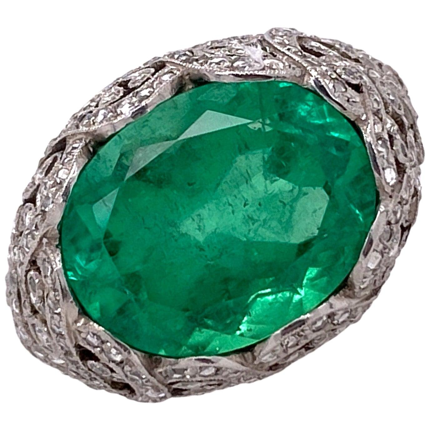 8 Carat Columbian Emerald Diamond Platinum Cocktail Ring AGL Certificate