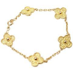 Van Cleef & Arpels Vintage Alhambra Five Motif Gold Link Bracelet