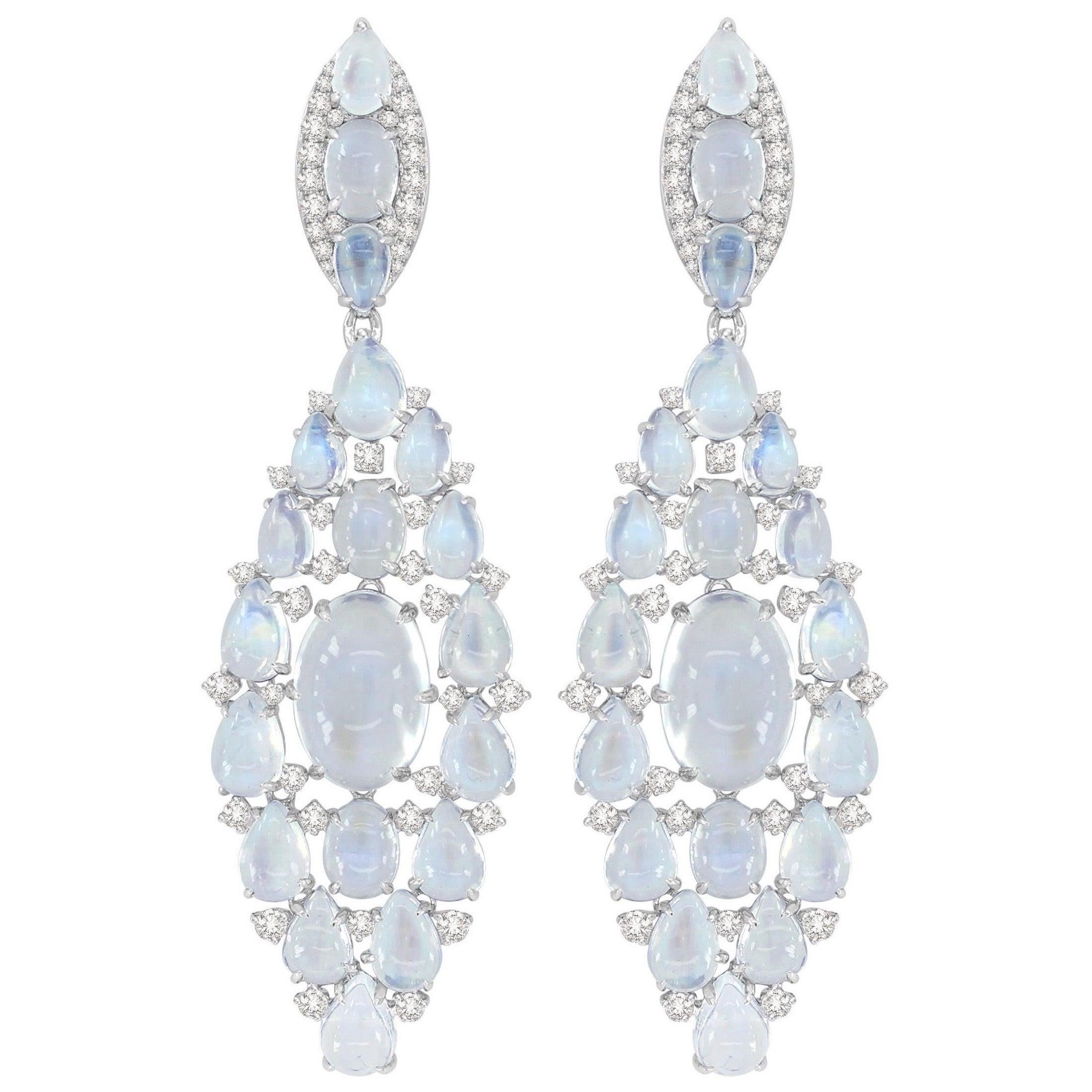 Moonstone Diamond 18 Karat White Gold Earrings