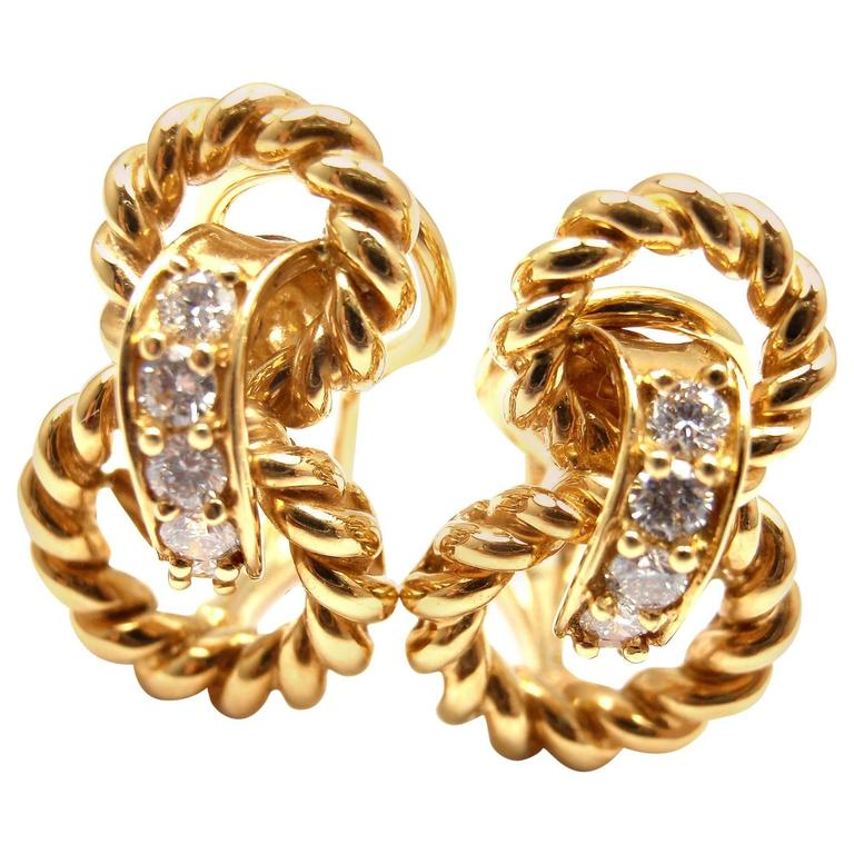 Tiffany & Co. Diamond Gold Earrings For Sale