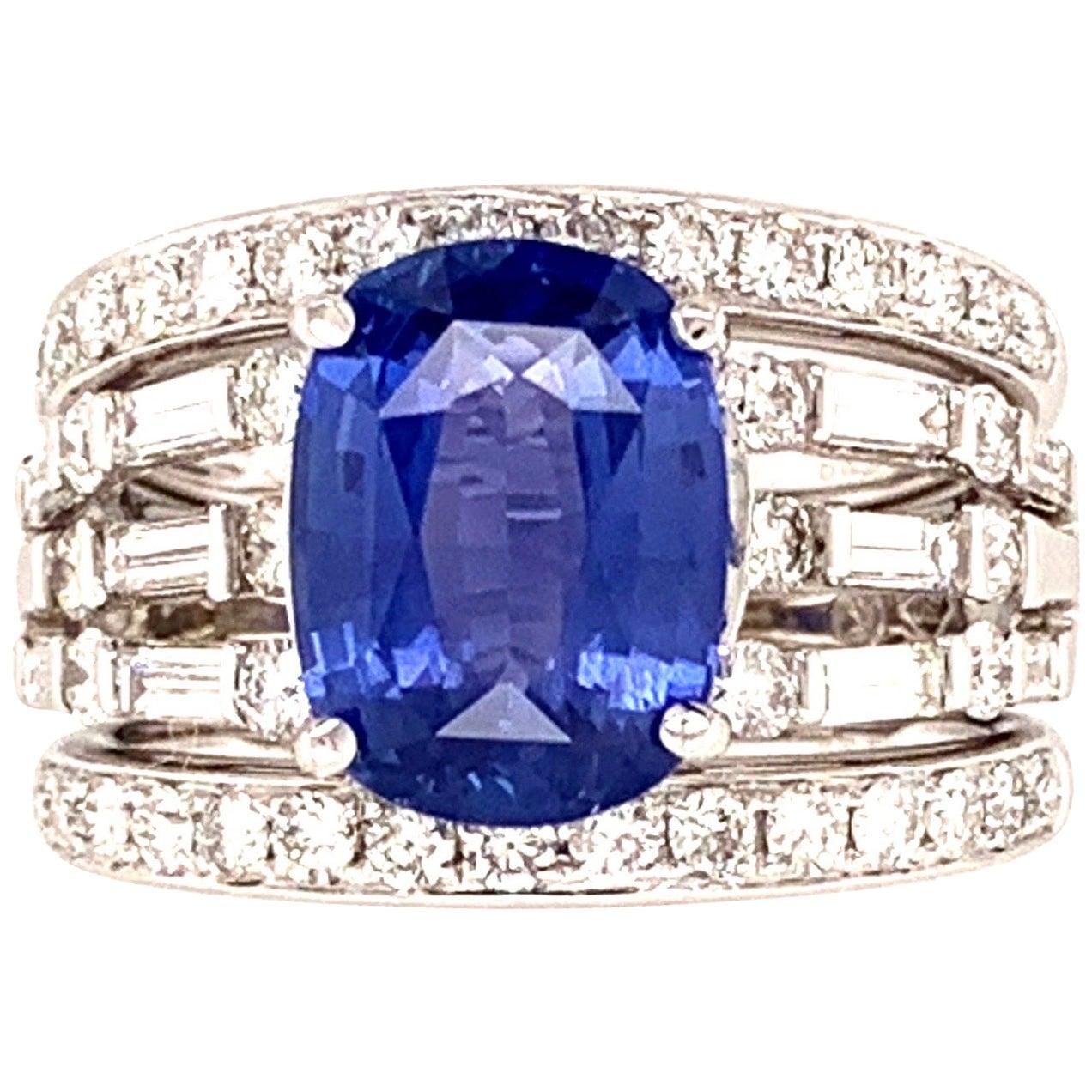 4.58 Carat Natural No Heat GIA Certified Sri Lankan Blue Sapphire Diamond Ring