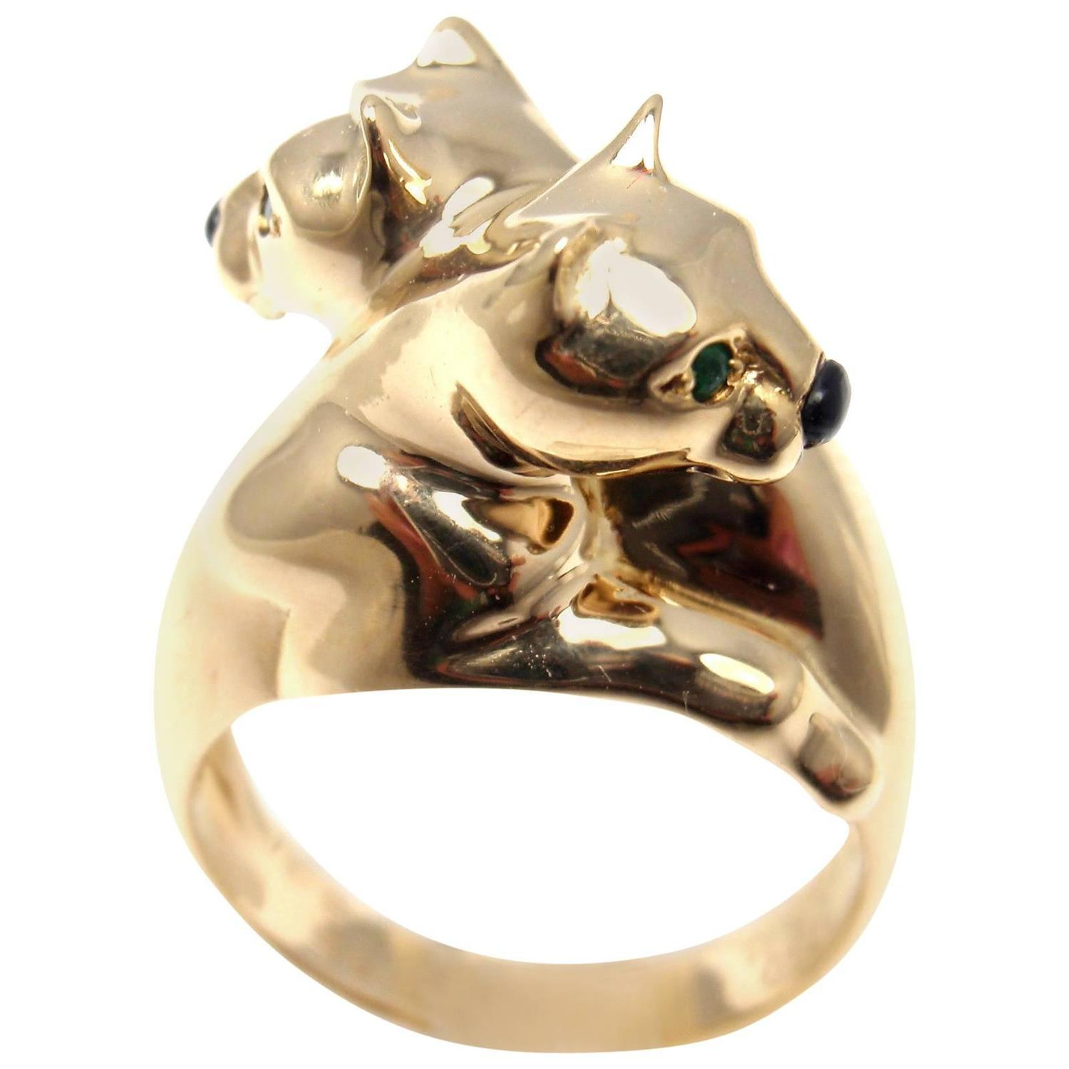 Cartier Double Panther Black Onyx Emerald Gold Band Ring