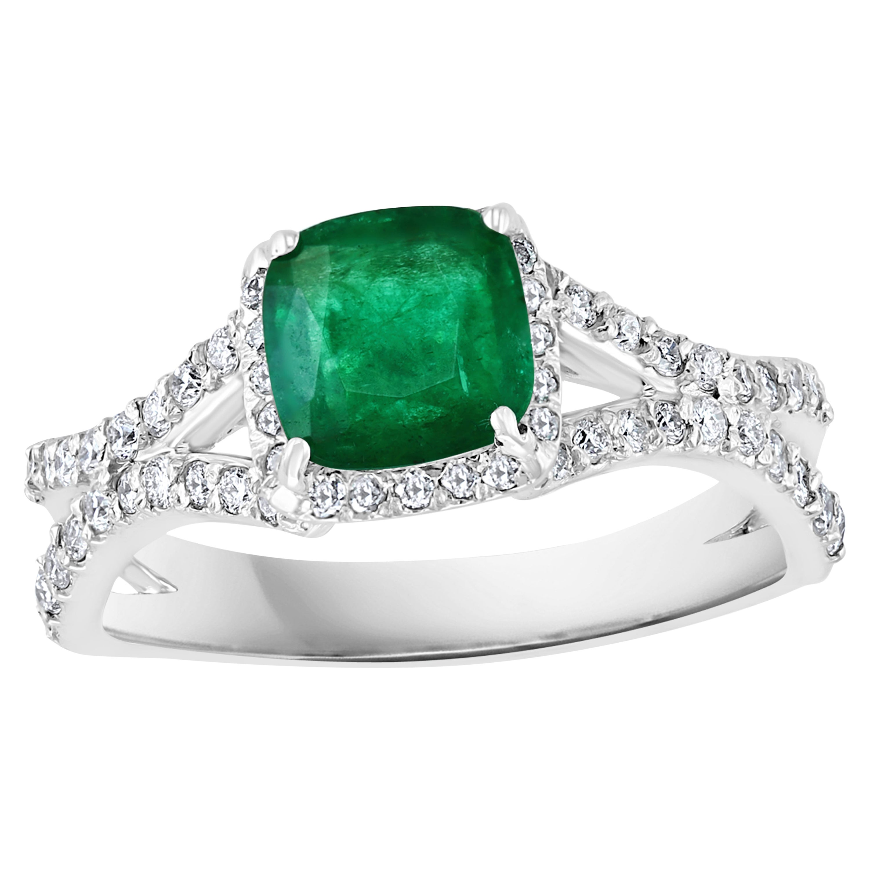 1.3 Carat Cushion Cut Emerald and 1.2 Carat Diamond Ring 14 Karat White Gold