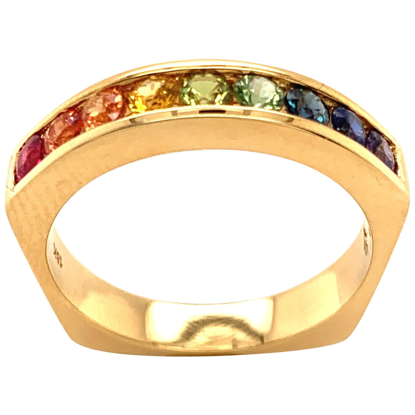 Multi-Color Sapphire Ring in 18 Karat Gold