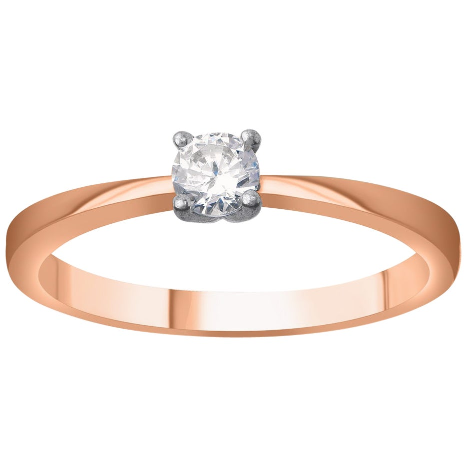 TJD 0.25 Carat Diamond 18 Karat Rose Gold Classic Beautiful Solitaire Ring