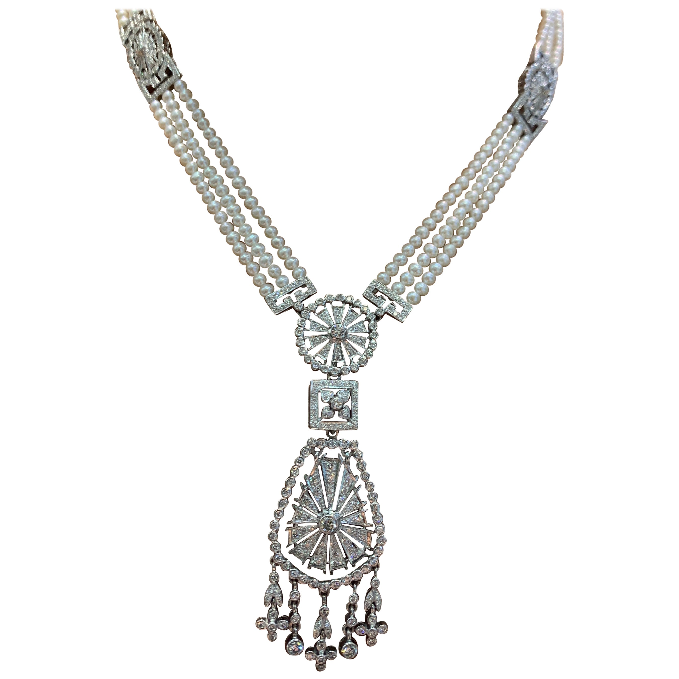 Pearl and Diamond Multi Strand Drop Necklace