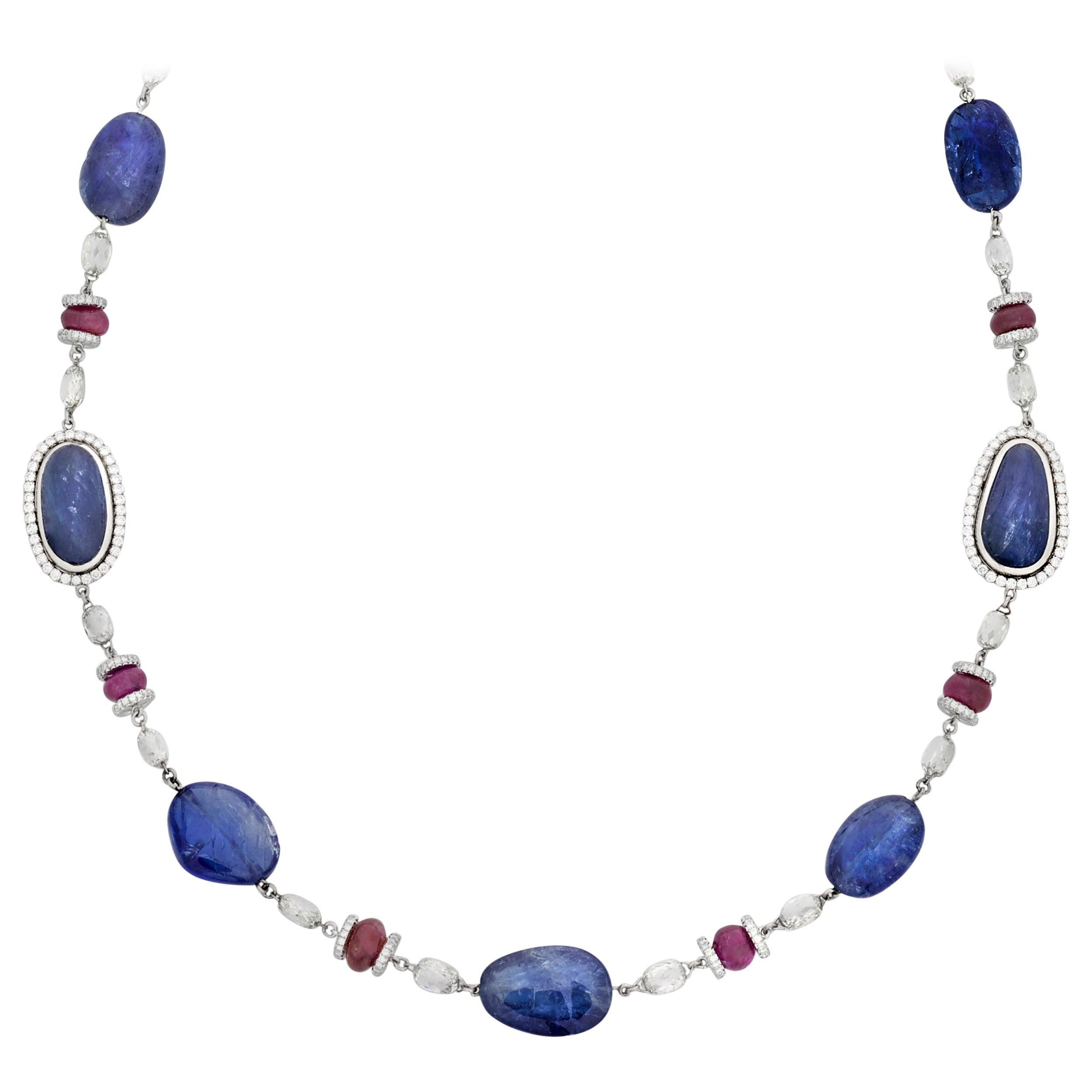 Cabochon Sapphire and Ruby Necklace, 141.55 Carat