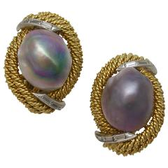 Elegant Baroque Pearl Silver Earclips
