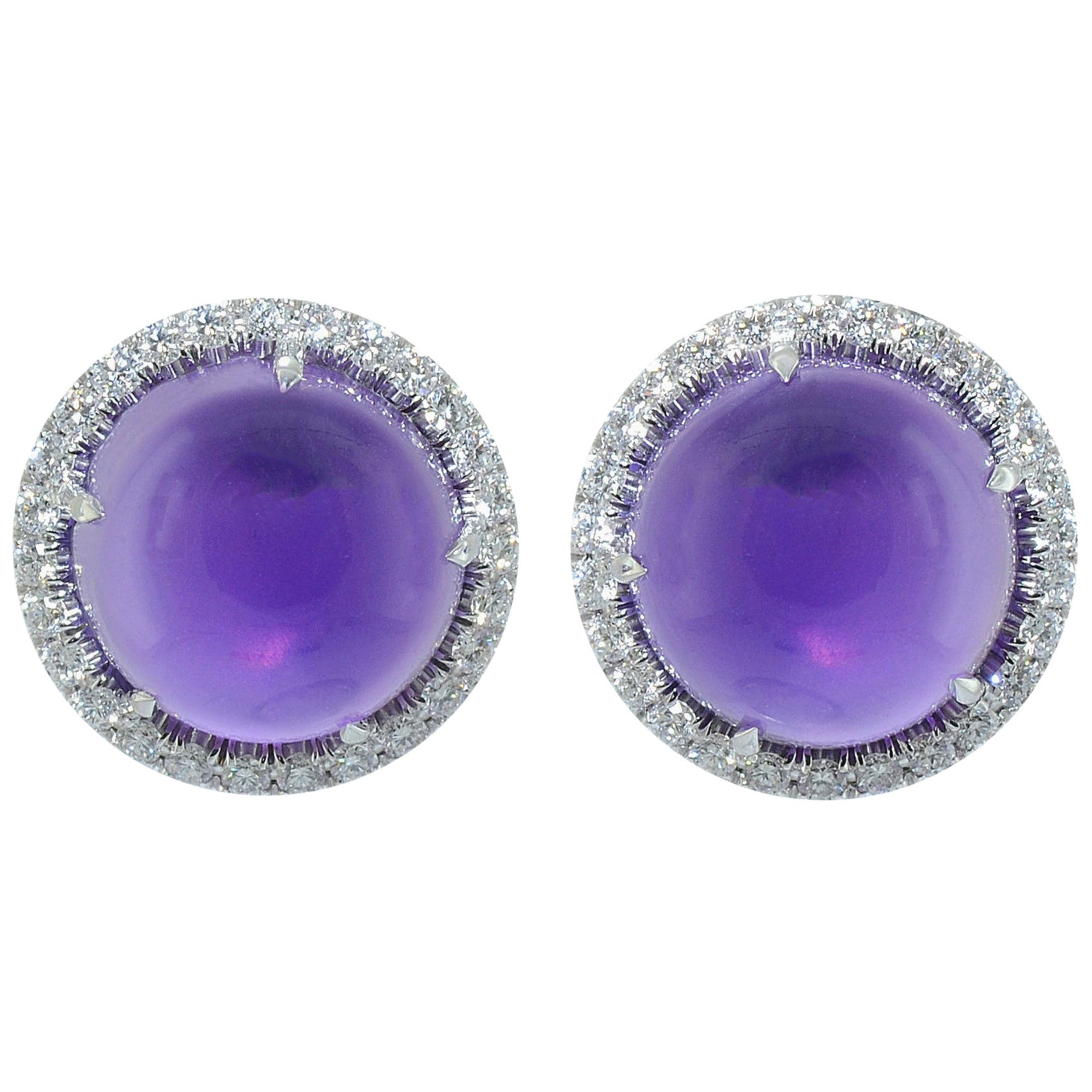 Diamond Cabochon Amethyst 18 KT White Gold Earrings Made in Italy