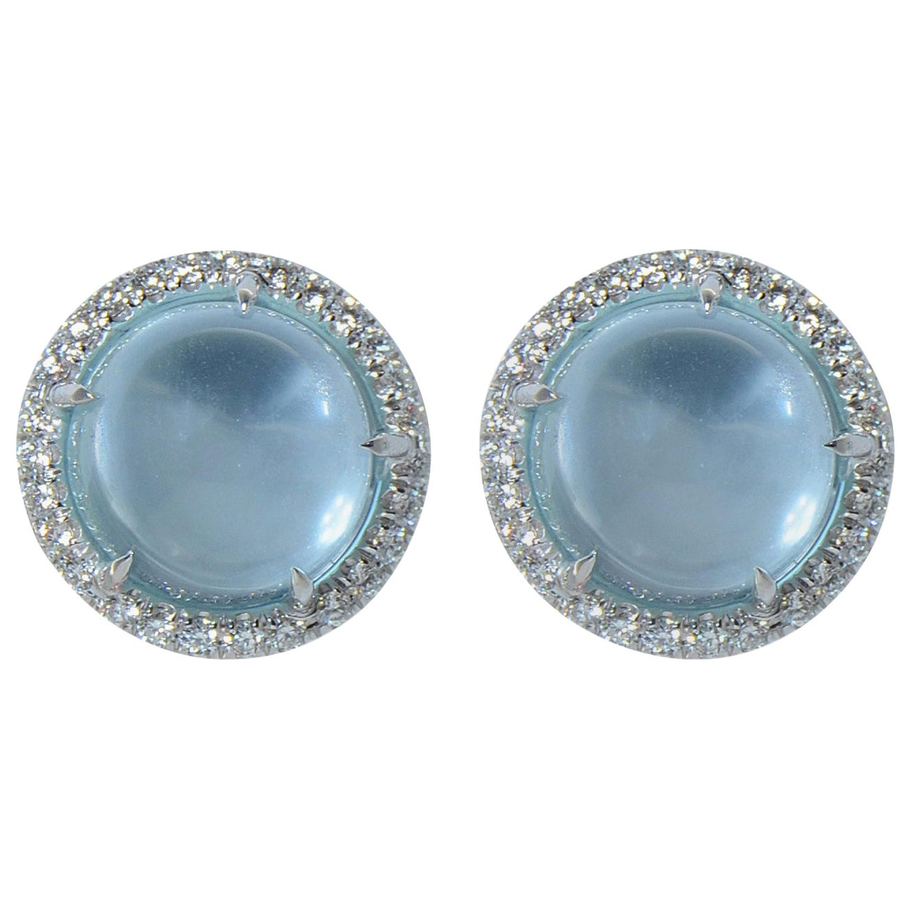 Diamond Cabochon Blue Topaz 18 KT White Gold Earrings Made in Italy