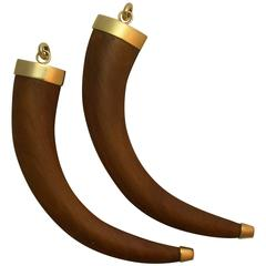 Pair Gold and Wood Tusk Pendants