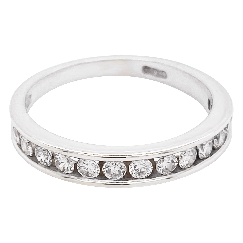 Diamond Ring Band, 14 Karat White Gold, Channel, Stack, Wedding, 3/4 Carat