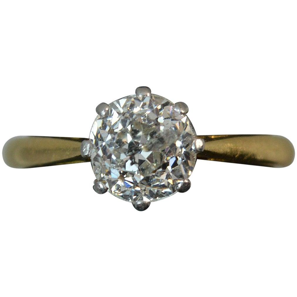 1.4 Carat Old Cut Diamond 18 Carat Gold Solitaire Engagement Ring