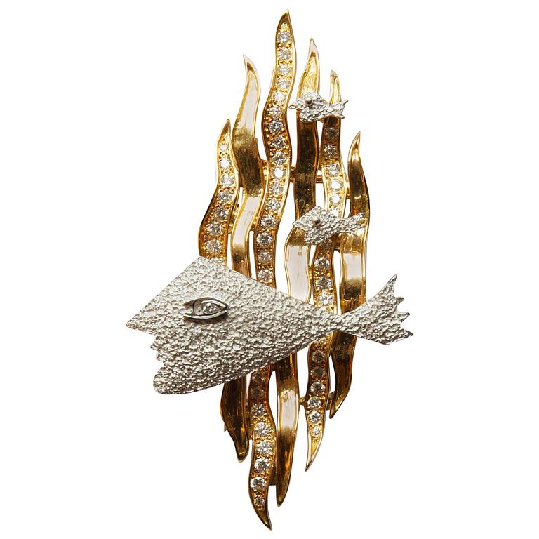 """1963 Georges Braque Yellow and White Gold and Cut Diamonds Brooch """"HEBE"""""""