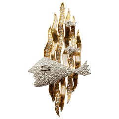 "1963 Georges Braque Yellow and White Gold and Cut Diamonds Brooch ""HEBE"""
