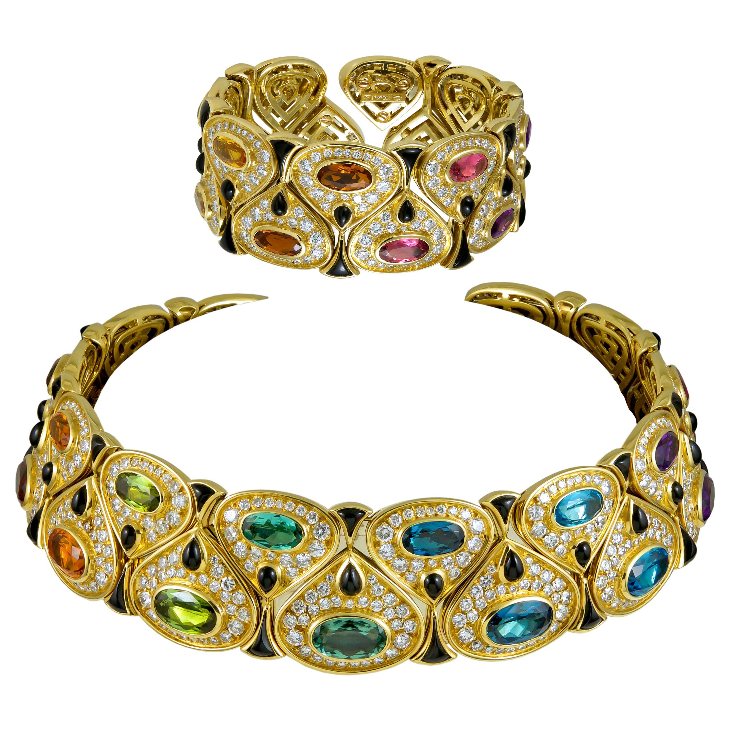 Marina B Cristina Multicolor and Yellow Gold Collar Necklace Bracelet Suite
