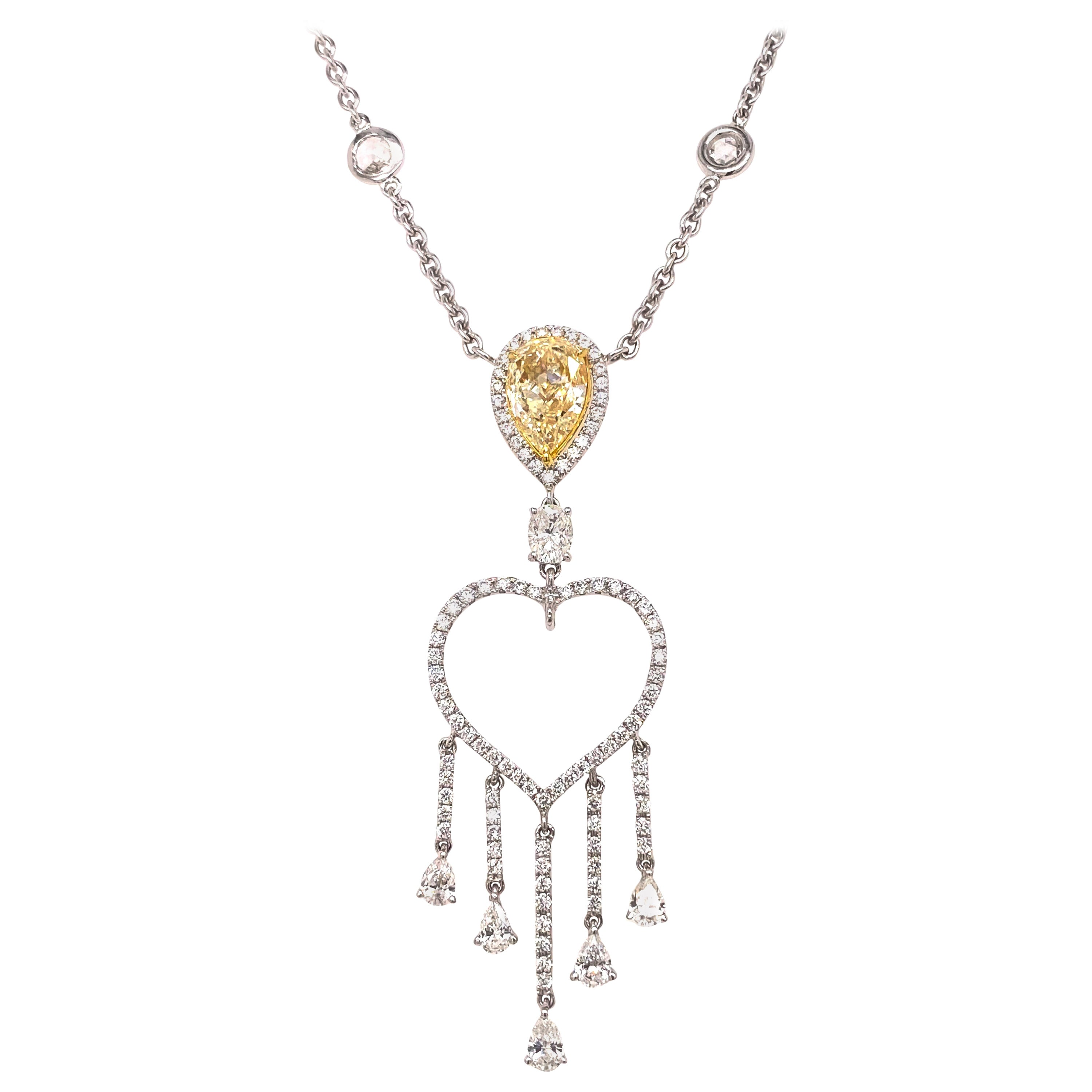Ethonica Pear Shape Fancy Yellow Diamond with Dangling Heart Pendant Necklace