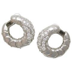 """Marina B  Diamond Gold """"Onda"""" Hoop Earrings"""