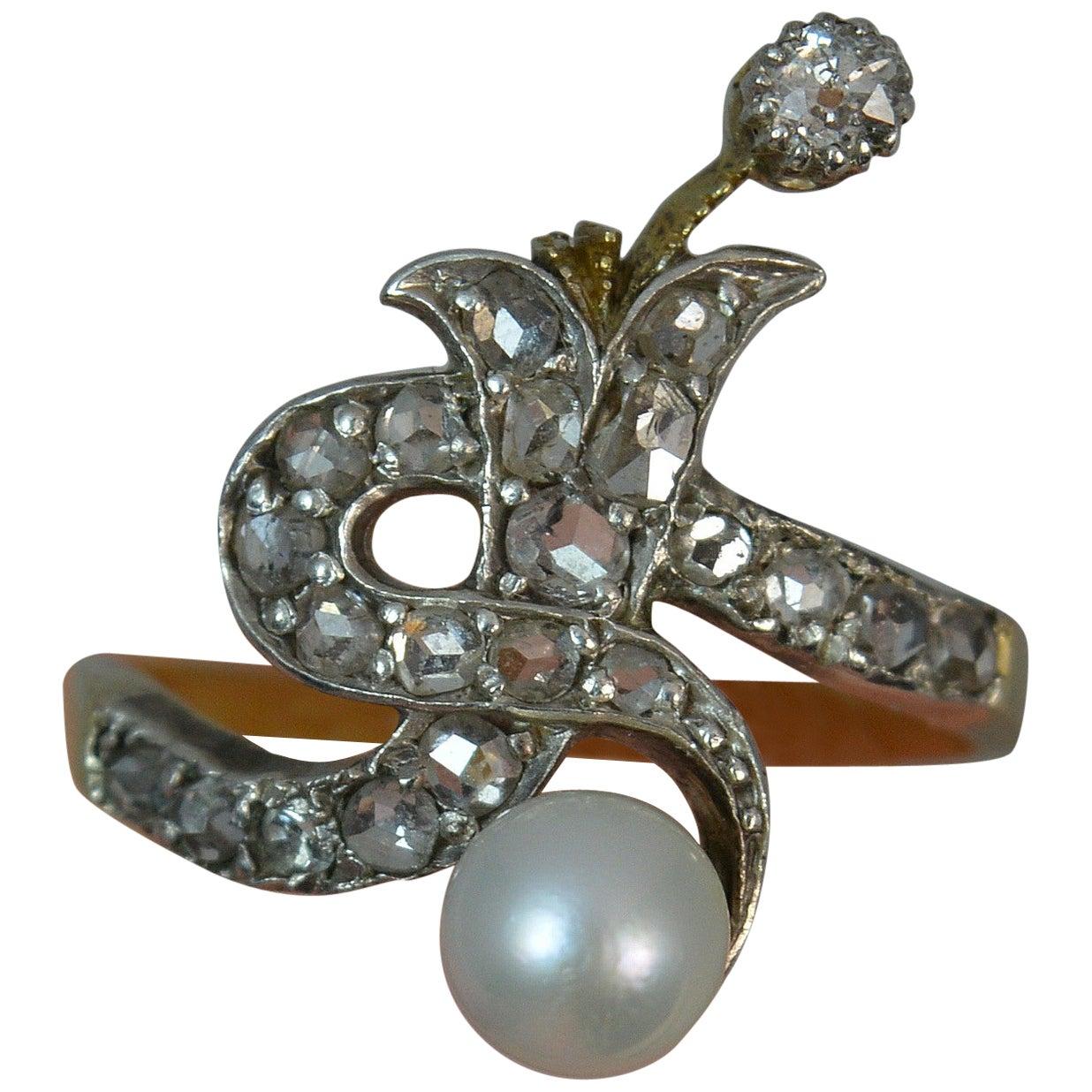 Victorian Rose Cut Diamond Pearl 18 Carat Gold Serpent Cluster Ring