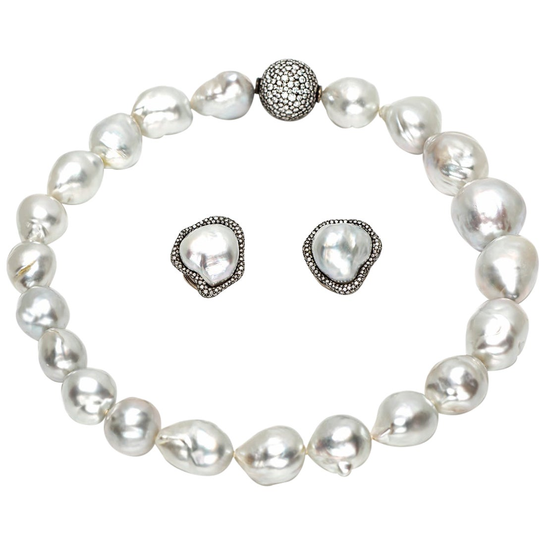 Diamond and South Sea Pearl Necklace and Earrings