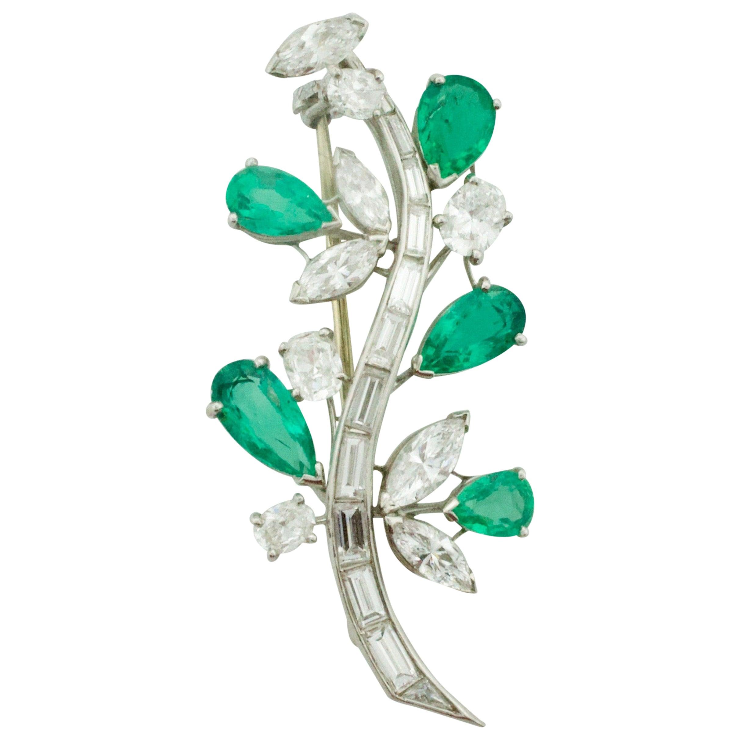 Flora and Fauna Emerald and Diamond Brooch in Platinum, circa 1940s