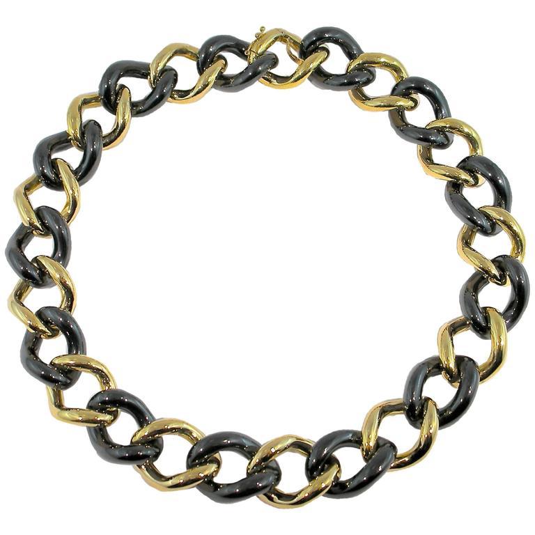 Jona High-Tech Black Ceramic Gold Curb Link Necklace