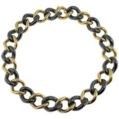 Jona High-Tech Black Ceramic Gold Curb Link Necklace