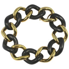 Jona High Tech Ceramic 18 Karat Yellow Gold Curb Link Bracelet
