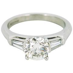 1.46 Carat Round Brilliant Cut Diamond Platinum Engagement Ring