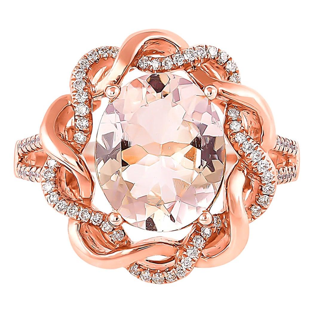 2.5 Carat Morganite and Diamond Ring in 18 Karat Rose Gold