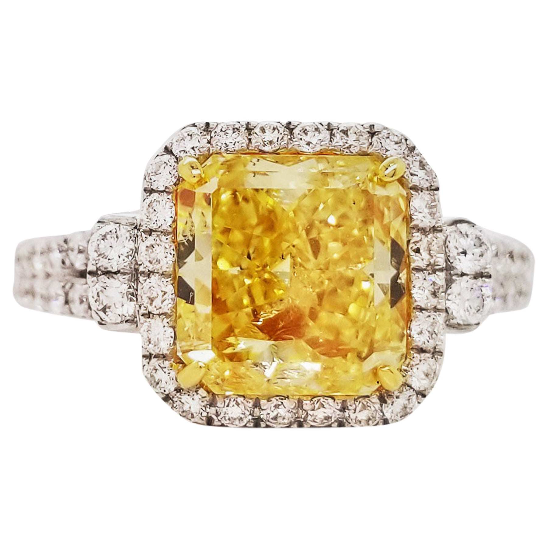 Scarselli GIA Certified 2 Carat Fancy Intense Yellow Radiant Cut Engagement Ring