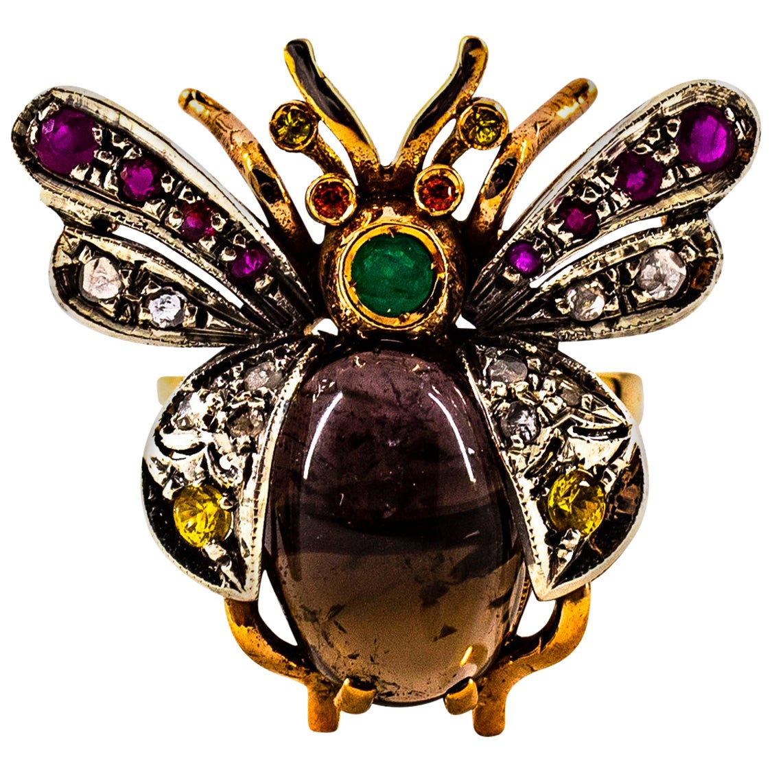 Art Nouveau Diamond Ruby Emerald Sapphire Tourmaline Yellow Gold Cocktail Ring
