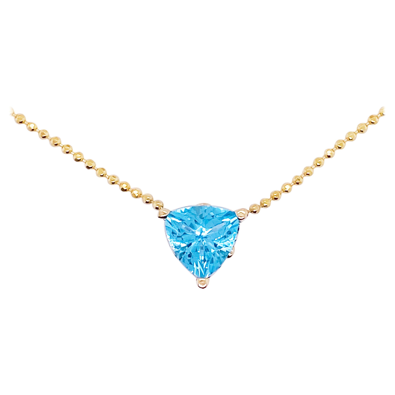 Swiss Blue Topaz Necklace 14 Karat Gold Pendant Trillion #NeckMess Crown, Beaded