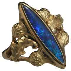 Art Nouveau Flower of Scotland Royal Blue Opal Gold Thistle Ring