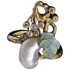 Art Nouveau Diamond Pearl Gold Plique-À-Jour Enamel Ring