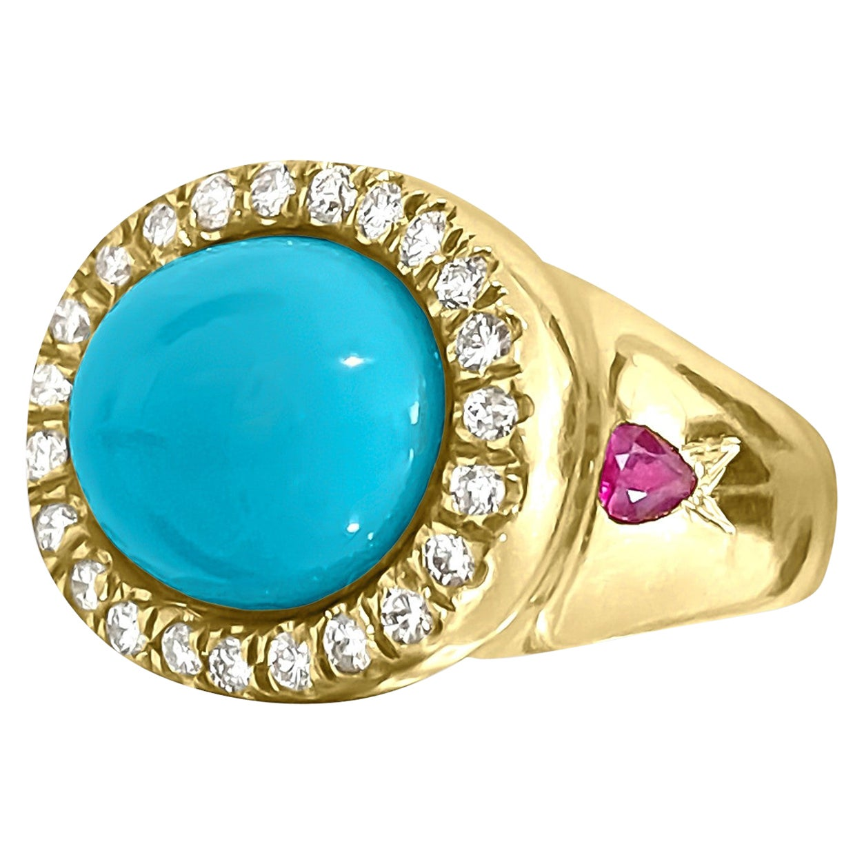 Turquoise Diamond Ruby Yellow Gold Cocktail Ring