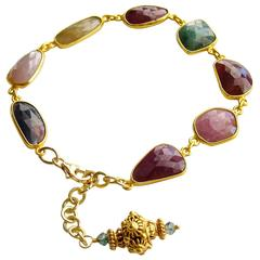 Multicolored Sapphire Slices Adjustable Bracelet
