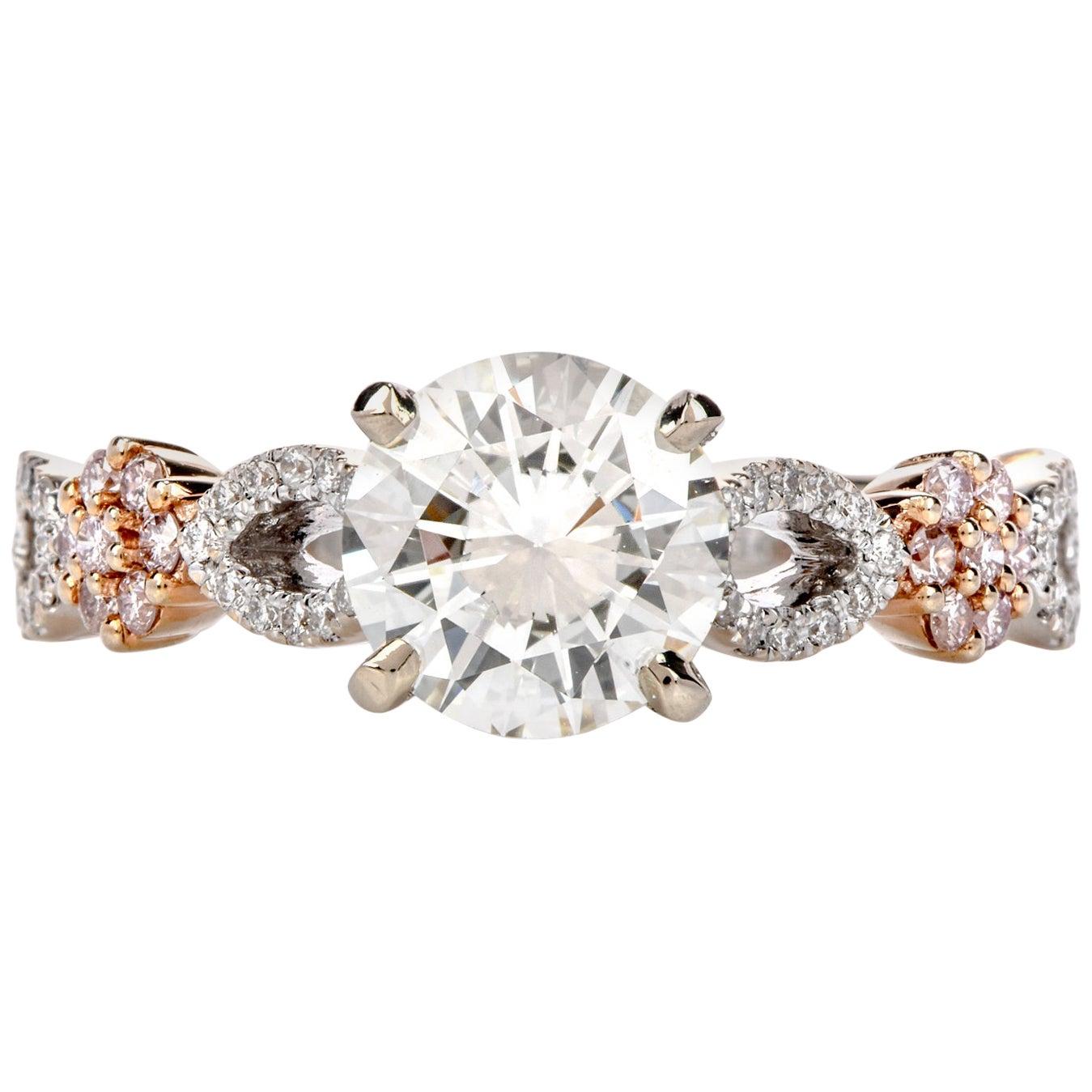 Hidalgo GIA 1.20 Carat White and Pink Diamond 18 Karat Gold Engagement Ring