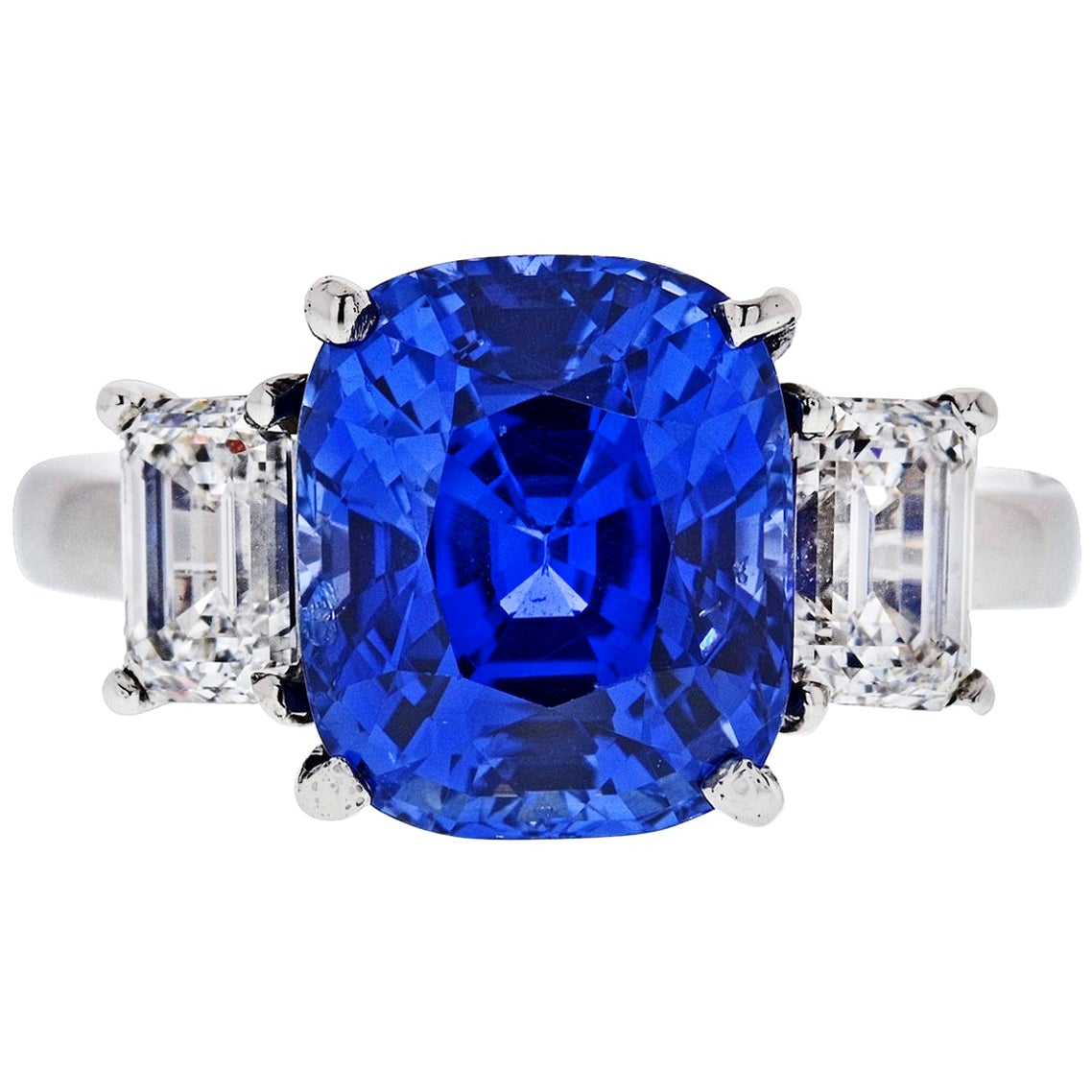 8.86 Carat Cushion Cut Blue Sapphire Three-Stone Diamond Platinum Ring
